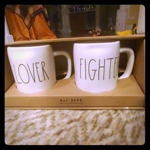 Rae Dunn Lover/Fighter mug set